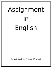 Assignment in English
