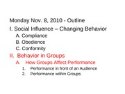 Group Performance Outline