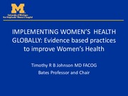 Lecture 15 Implementing Women's Health Globally