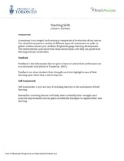 Teaching Skills - Lesson 6 Summary