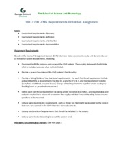ITEC3700 CMS Requirements Definition Assignment
