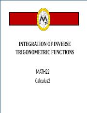 Lesson 8 Integration of Inverse Trigonometric Functions