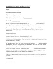 SAMPLE APPOINTMENT LETTER