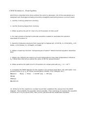 CH302 Worksheet 4—Water Equilibria