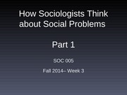 how sociologists think about social problems