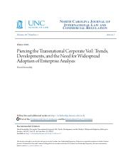 Piercing the Transnational Corporate Veil- Trends Developments and the Need for Widespread Adoption