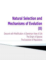 Natural Selection and Mechanisms of Evolution (II)(4)