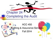ACC 450 23 Completing the Audit Fall 14