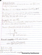 MATH 107 Rational Functions Notes And Problems