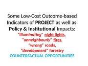 07a1_Some Low-cost Outcome-based Indicators of Project or Policy  Impacts