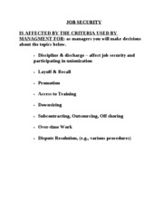 JOB SECURITY Chapter 8 notes