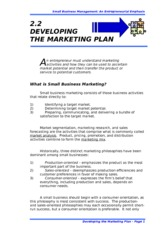 2.2 DEVELOPING THE MARKETING PLAN