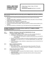 Resume example - Hotel and Food Administration 2