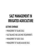 LESSON 8 AND 9 - SALT MANAGEMENT IN IRRIGATED AGRICULTURE