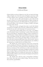 Achebe, Chinua - Collected Poems