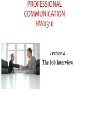 Lecture 4 job interviews HO