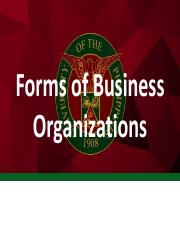 5 Forms of Business Organizations