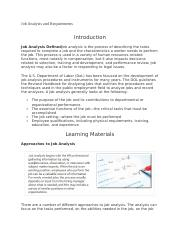 Job Analysis and Requirements - Unit 2