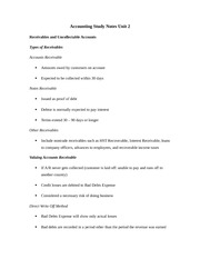 Accounting Study Notes Unit 2