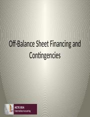 Class 14 Off-Balance Sheet Financing and Contingencies