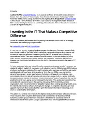 MIS - Tutorial 04 - McAfee 2008 - Investing in the IT that makes a competitive difference