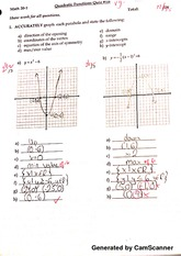 quadratic functions quiz 1