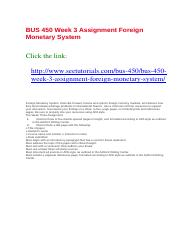 BUS 450 Week 3 Assignment Foreign Monetary System