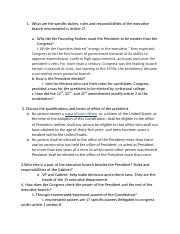 chapter 8- presidency and executive branch