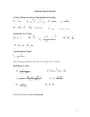 Queuing Analysis Exam Formulas Sheet