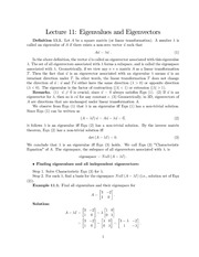 Lecture Notes on Eigenvalues and Eigenvectors