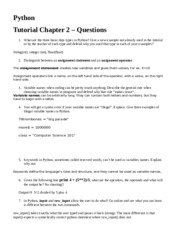 Python Tutorial Questions Chapter 2 (2)