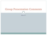 Group Project Comments