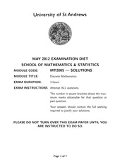 May 2012 Solutions to Exam Script