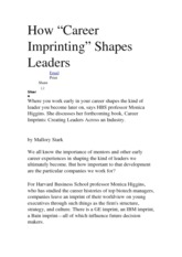 How career imprinting shapes leaders