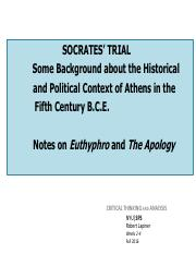 Background      Socrates_ Life and Death--and The Apology--in Context of Ancient Athens   Weeks 2-4