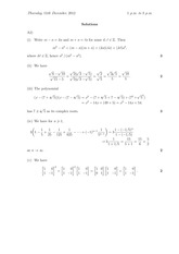 Answers to 1X Degree Exam Questions 2012 (Solutions)