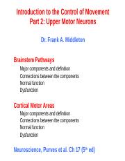 Upper motor neurons Lecture