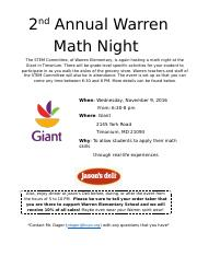 Math Night at Giant.docx