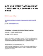 ACC 499 WEEK 7 ASSIGNMENT 2 LITIGATION, CENSURES, AND FINES.doc