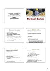Lecture 5 Supply Decision