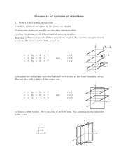 Geometry of systems of equations study guide