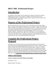 PRST 7998 SPECIAL PROJECT