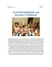 CLAYTON KERSHAW and Kershaw's Challenge.docx