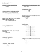 Practice Final Exam Non MC Spring 2014 on Precalculus