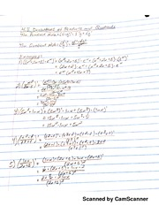 MATH 206 derivitives Quotients And Products Notes