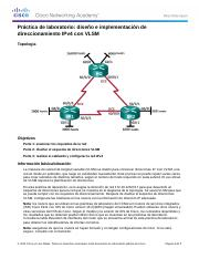6.3.3.7 Lab - Designing and Implementing IPv4 Addressing with VLSM.docx