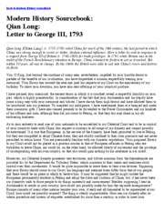 Letter to George III 1793