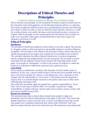 Descriptions of Ethical Theories and Principles