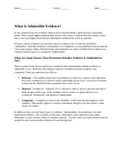 What Is Admissible Evidence