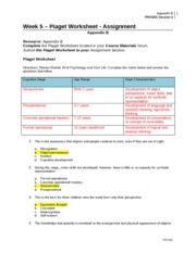 piaget worksheet psy 201 week 5 Psy 203 week 1 review worksheet  jean piaget albert bandura   psy 203 week 5 review worksheet complete the.